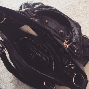 Balenciaga velo bag black with rose gold hardware